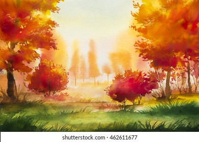 Autumn landscape. Watercolor illustration.