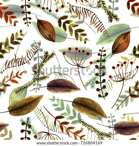 Autumn leaf fall hand drawn sketch seamless pattern. For templates, web, design, invitations, banners. White background. Watercolor vintage floral