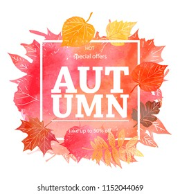 Autumn leaf foliage watercolor .Autumn sale. Fall sale. Web banner or poster for e-commerce, on-line cosmetics shop, fashion beauty shop, store. Raster copy