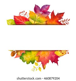 Autumn leaf frame. Watercolor illustration.