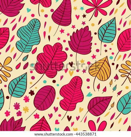 autumn leaf seamless pattern background template stock illustration