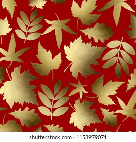 Autumn leaves, background. Autumn seamless watercolor pattern. fall