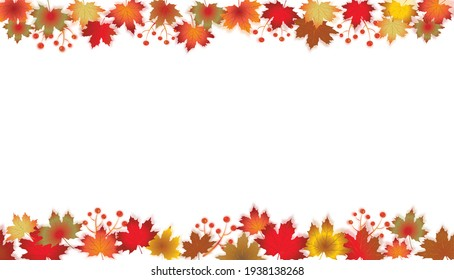Autumn Leaves Border isolated on White. Red, yellow and orange fall leaves with copy space. Fall foliage frame for text.