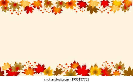 Autumn Leaves Border with Red, yellow and orange fall leaves with copy space. Fall foliage frame for text.