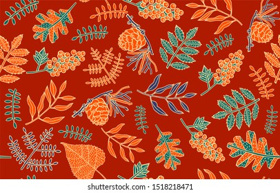 Autumn leaves in cartoon style. A cute background. Seasonal banner. September fall. October party. November sale. Decorative border. Halloween.Vector illustration.