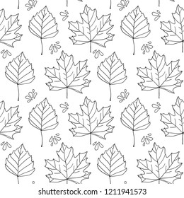 Autumn leaves. Monochrome seamless pattern with hand drawn outline leaves. Raster version