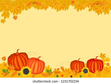 autumn. leaves and pumpkins