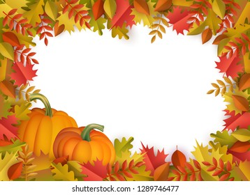 Autumn leaves and pumpkins border frame background with space text . Seasonal floral maple oak tree orange leaves with gourds for thanksgiving holiday, harvest decoration design.