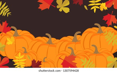 Autumn leaves and pumpkins border frame with space text on dark background. Seasonal floral maple oak tree orange leaves with gourds for thanksgiving holiday, harvest decoration raster design.