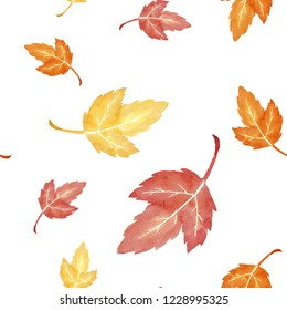 Autumn leaves seamless pattern. Hand drawn. watercolor painting. Colorful leaves isolated on white background. Fall theme. Perfect for wedding invitation, greeting card, fabric, flyer, gift wrap, etc.