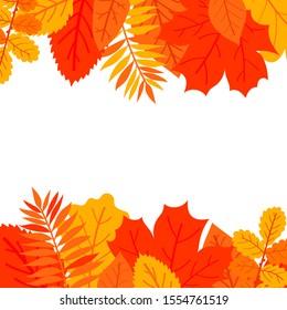 autumn leaves set, isolated on white background. simple cartoon flat style,  illustration