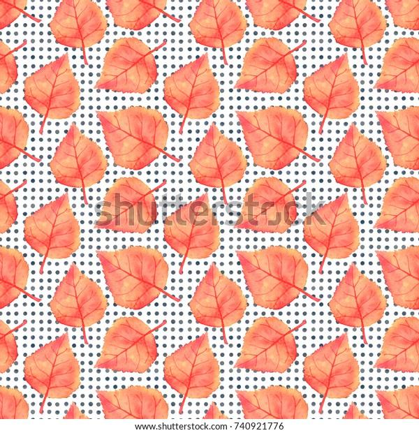 Autumn Linden Leaf Seamless Pattern Fall Stock Illustration