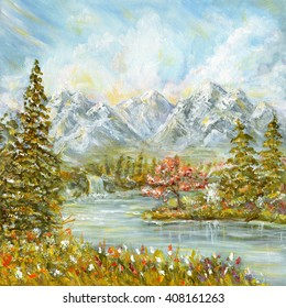Autumn mountain landscape. Original acrylic hand painting illustration