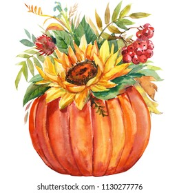 Autumn multicolored bouquet of sunflowers, dry leaves, rowanberry, pumpkins on isolated white background, watercolor illustration, botanical painting, flora design