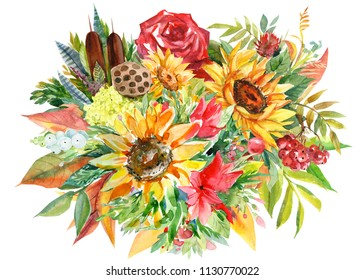 Autumn multicolored bouquet of sunflowers, mountain ash, rose, lotus seeds, reeds, dry leaves on isolated white background, watercolor illustration, botanical painting, flora design