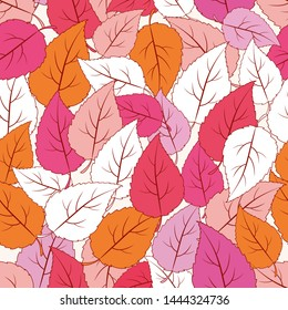 Autumn ornamental colors seamless pattern with leaves.