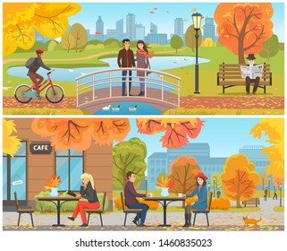 Autumn park and relaxing resting people set raster. Male riding bicycle, couple standing on bridge feeding geese on water. Cafe human drinking coffee