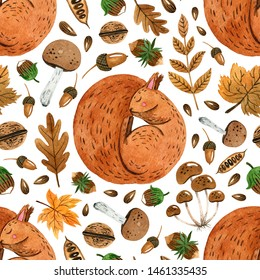 Autumn pattern with sleeping squirrel. Watercolor hand painted illustration.