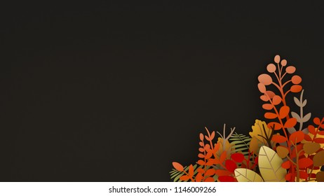 Autumn plants and leaves bouquet paper art with black background - 3D rendering