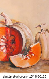 Autumn pumpkins oil painting. Still life with a cut slice of pumpkin. Orange pumpkins.