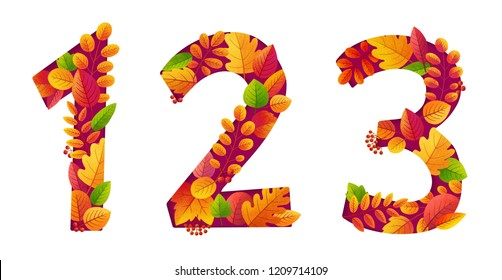 Autumn red and orange leaves compostion 1 2 3 numbers set isolated on white background