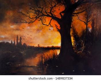 Autumn red sunset. Halloween night. Oil painting