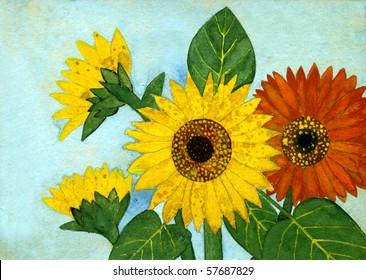 Yellow Flowers Gouache On Paper Handwork Stock Illustration 57567826
