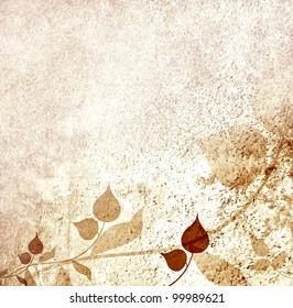 Autumn romantic leaves and floral vintage background