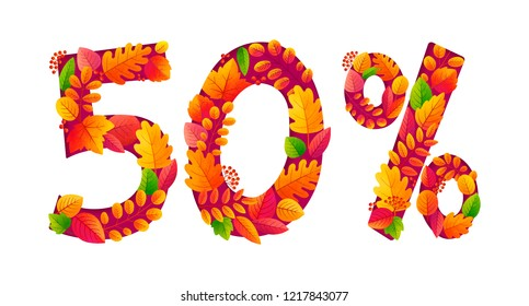 Autumn sale 50% off discount with orange fall leaves in number shapes