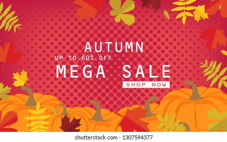 Autumn sale background layout decorate with leaves for shopping sale or promo poster and frame leaflet or web banner.Raster illustration template.