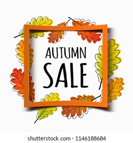 Autumn sale banner with orange square frame and modern autumn leaves. Fall poster background.