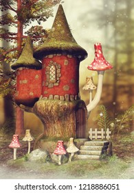 Autumn scene with a fantasy mushroom castle and fern on a meadow in the woods. 3D illustration.