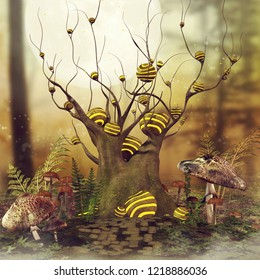 Autumn scene with a fantasy tree and mushrooms on a meadow. 3D illustration.