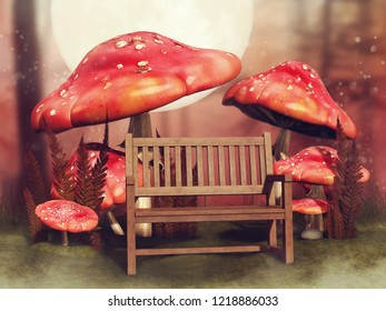 Autumn scene with a wooden bench and red fairy mushrooms in the forest. 3D illustration.