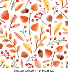 Autumn seamless pattern with acorns, nuts, cape gooseberries, viburnum berries on white background. Seasonal illustration in modern flat style for wrapping paper, wallpaper, fabric print.