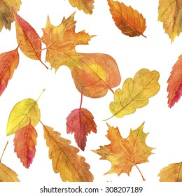autumn seamless pattern, artistic painting background with yellow leaves drawing by watercolor