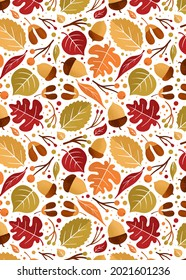 Autumn seamless pattern of leaves, acorns and berries on white background