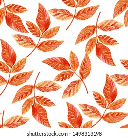 autumn seamless pattern with watercolor leaves