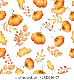Autumn seamless pattern. Yellow fall leaves and pumpkin ornament on white background