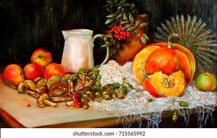 Autumn still life with pumpkin, mushrooms, acorns, jug - illustration oil