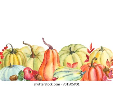 Autumn thanksgiving card template, hand watercolor painted, isolated, pumpkin and leaves, acorns, wild rose fruit, apple