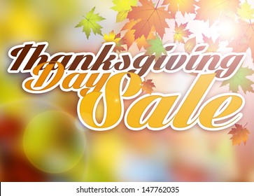 Autumn thanksgiving day sale poster or flyer background with space