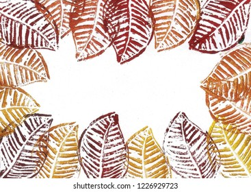 Autumn time - colorful leaves linoleum stamp patterns
