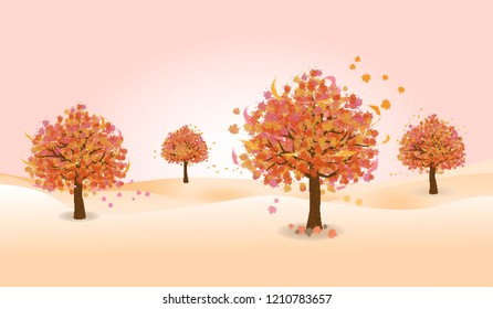 autumn tree with orange and yellow color