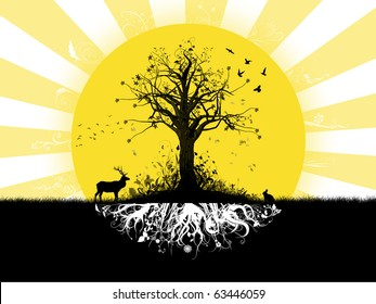 Autumn tree silhouette with abstract root system underground