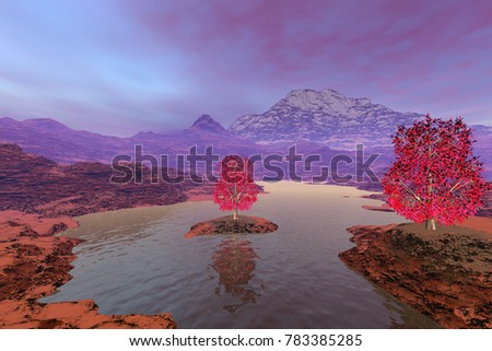 Autumn trees, 3D rendering, a rocky landscape, river among the mountains and a blue sky with purple clouds.