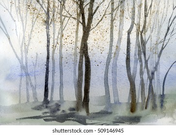 Autumn trees background watercolor, hand drawn watercolour painting