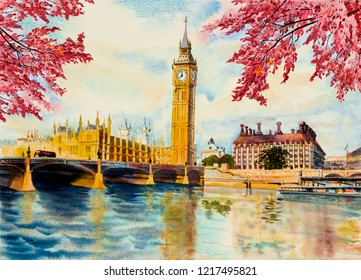 Autumn trees, Big Ben Clock Tower and thames river in London at England. Watercolor painting illustration landscape beautiful season. Landmark, business city