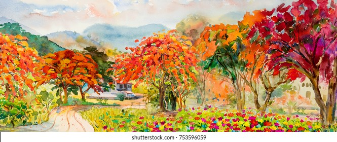 Autumn trees. Painting watercolor landscape red, orange and yellow color of Peacock flowers and leaf,in morning blue sky, cloud background, beauty nature winter season. Hand painted illustration