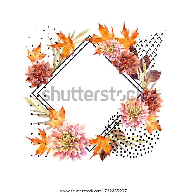 Autumn Watercolor Floral Arrangement Background Flowers Stock ...